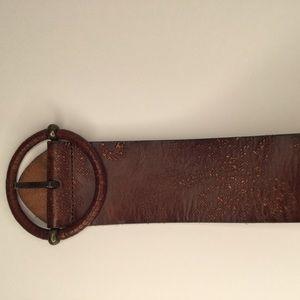 Fossil genuine leather distressed wide women belt